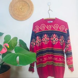 Vtg 90s Filas Funky Oversized BoyfriendSweater